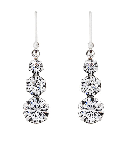 Swarovski crystal 3 drop solitaire earring
