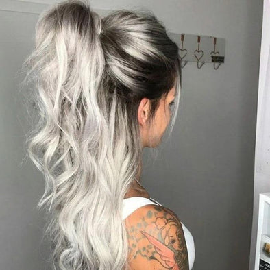 GRAY WITH BLACK ROOT COLOR BODY WAVY FULL LACE WIG