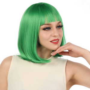 "ENilecor Short Bob Hair Wigs 12"" Straight with Flat Bangs Synthetic Colorful Cosplay Daily Party Wig for Women Natural As Real Hair+ Free Wig Cap(Sixteen colors)"