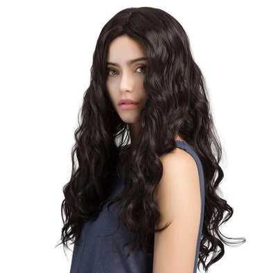 Brazilian Hair Black Natural Wavy Long Hair Lace Front Wig