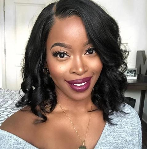 360 Lace Front Lovely Natural BobWavy Silky Wig