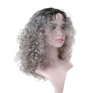 Supper Fluffy BoB Short Curly 360 Lace Wig - Gray Remy Human Wig