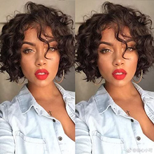Load image into Gallery viewer, 200% Density Brazilian Natural Color Short Wave Bob 360 Lace -- Human Wig
