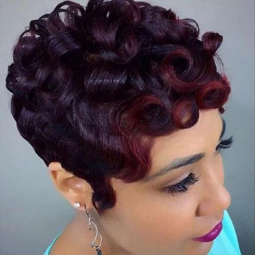 360 Lace Wig Best Design Short Curly Layered Wig | Human Hair | Wine Red/Black/Blonde Wig