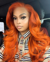 Load image into Gallery viewer, Orange Super bright Malaysian 360 Wave Lace Front Wigs With Baby Hair