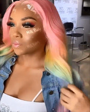 Load image into Gallery viewer, Pink HD Lace Wig Frontal Hand-Tied Trendy Wave Wig/PINK