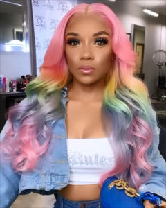 Pink HD Lace Wig Frontal Hand-Tied Trendy Wave Wig/PINK