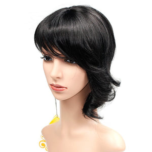 Wendy Hair Synthetic Hair Wig Short Wig with Bangs Shoulder Length Wavy Wigs for Women