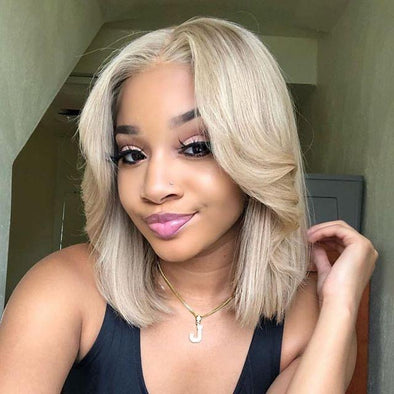 Peruvian 360 Lace Front Human Hair Wig  Straight Hair 613 Blonde Short Bob Lace Wigs Pre Plucked Hairline Eifini