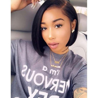 360 Lace Sleek Short Straight Hair Wig without Bangs