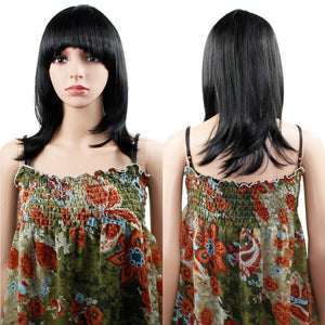 Wendy Hair Women's Natural Black Straight Synthetic Cosplay Shoulder Length Layered Hair Wig for Women