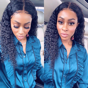 Charming Black Front Lace Long Curly Wig - Human Hair