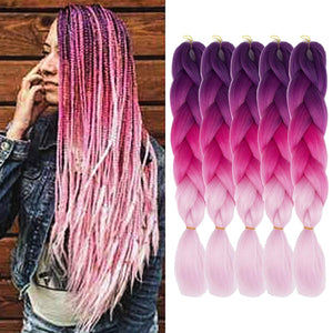 "WENDY HAIR Braiding Hair Extension 26"" 5 Packs Ombre Natural Professional Crochet Hair Hot Water Setting Perm Yaki Synthetic Hair for Twist Braids (M59)"