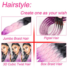 "Load image into Gallery viewer, WENDY HAIR Braiding Hair Extension 26"" 5 Packs Ombre Natural Professional Crochet Hair Hot Water Setting Perm Yaki Synthetic Hair for Twist Braids (M48)"