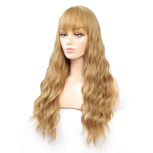 HUA MIAN LI Long Wavy Wig With Air Bangs Silky Full Heat Resistant Synthetic Wig for Women - Natural Looking Machine Made Grey Pink 26 inch Hair Replacement Wig for Party Cosplay Body Wavy