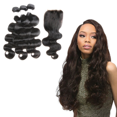 Luxury Hair Bouncy Hair Bundle with Lace Closure 180% Hair