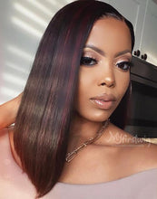 Load image into Gallery viewer, DEISHA - MALAYSIAN BURGUNDY HIGHLIGHT HAIR BOB LACE FRONT WIG - LFB011