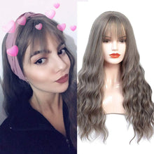 Load image into Gallery viewer, HUA MIAN LI Long Wavy Wig With Air Bangs Silky Full Heat Resistant Synthetic Wig for Women - Natural Looking Machine Made Grey Pink 26 inch Hair Replacement Wig for Party Cosplay Body Wavy