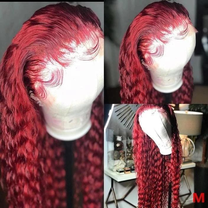 Lace Front wig Human Hair Burgundy Colored Human Hair Curly Wigs Lady Wig