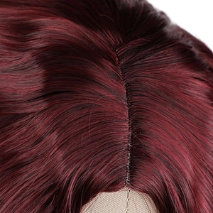 Wine-Red Color  Long Synthetic Wigs Natural Wave High Temperature Fiber Wigs For Fashion Women
