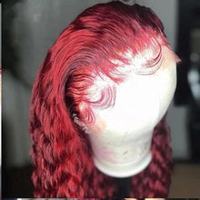 Load image into Gallery viewer, Lace Front wig Human Hair Burgundy Colored Human Hair Curly Wigs Lady Wig