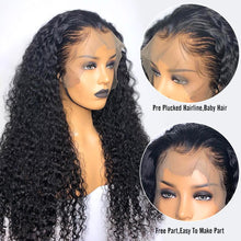 Load image into Gallery viewer, Charming Black Front Lace Long Curly Wig - Human Hair