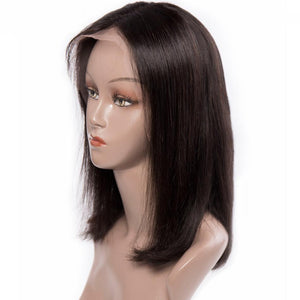 Kinky Straight 360 Lace Front Human Hair Wigs For Women  Coarse Yaki Brazilian Short Bob Wig Natural Color