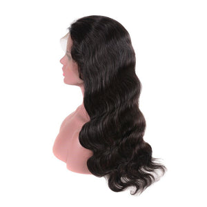 Very Deep Parting Loose Curly Heavy Density Natural Color Brazilian Hair Lace Wigs