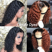Load image into Gallery viewer, 360 Lace Deep Curly Short Bob Wigs  Lace Front Human Hair Wigs Brazilian Glueless Lace Frontal Wig With Baby Hair Full Dolago Wig