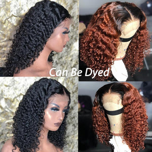 360 Lace Deep Curly Short Bob Wigs  Lace Front Human Hair Wigs Brazilian Glueless Lace Frontal Wig With Baby Hair Full Dolago Wig