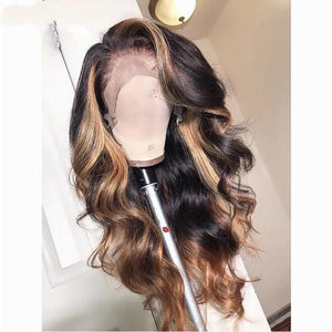 13x6 Deep part Lace Front Human Hair Wigs Brazilian Remy Wavy