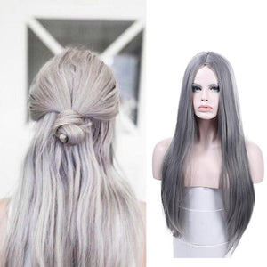360 Lace Grey Straight Wig - Human Hair