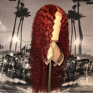 Preferred Red Curly Human Hair Wig With Baby Hair