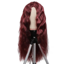 Load image into Gallery viewer, Wine-Red Color  Long Synthetic Wigs Natural Wave High Temperature Fiber Wigs For Fashion Women