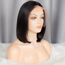Load image into Gallery viewer, Kinky Straight 360 Lace Front Human Hair Wigs For Women  Coarse Yaki Brazilian Short Bob Wig Natural Color