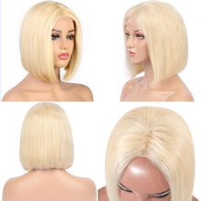 Load image into Gallery viewer, Peruvian 360 Lace Front Human Hair Wig  Straight Hair 613 Blonde Short Bob Lace Wigs Pre Plucked Hairline Eifini