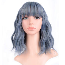 Load image into Gallery viewer, VCKOVCKO Pure White Natural Wavy Short Wig With Air Bangs Women's Shoulder Length Curly Wavy Synthetic Cosplay Wig Bob Wig for Girl Colorful Wigs