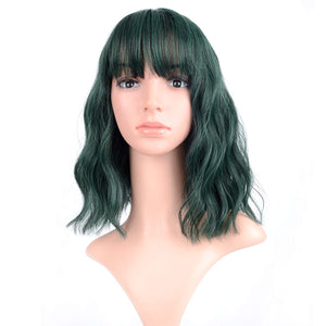 VCKOVCKO Pure White Natural Wavy Short Wig With Air Bangs Women's Shoulder Length Curly Wavy Synthetic Cosplay Wig Bob Wig for Girl Colorful Wigs