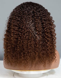 LIBRA - ZODIAC COLLECTION HUMAN HAIR SHORT OMBRE BROWN CURLY WIG - ZC006