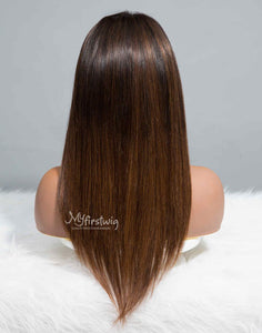 SAGITTARIUS - ZODIAC COLLECTION HUMAN HAIR STRAIGHT OMBRE DARK BROWN WIG - ZC008