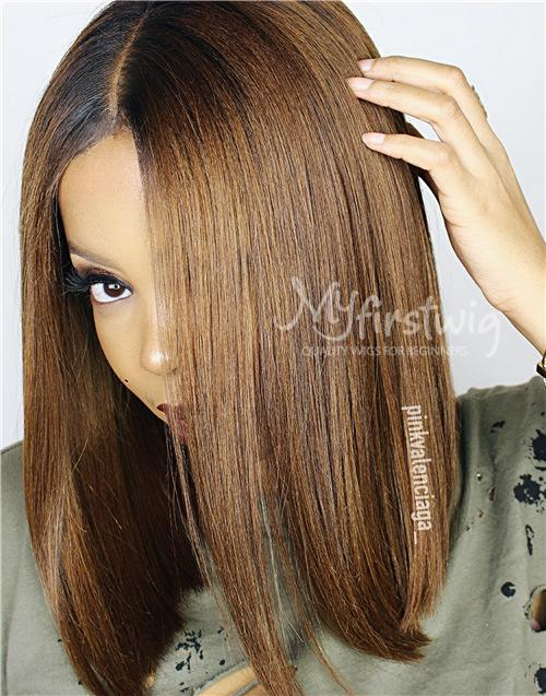 INDIAN HAIR - VALENTINE OMBRE HAIR BOB LACE FRONT WIG - ILFW007