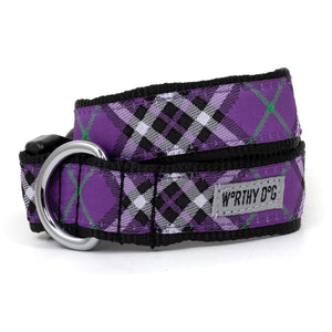 Bias Plaid Purple Dog Collar