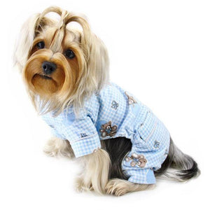 Adorable Teddy Bear Love Flannel PJ with 2 Pockets Light Blue