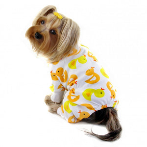 Yellow Ducky Knit Cotton Dog Pajamas