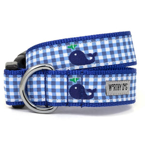 Gingham Whales Dog Collar