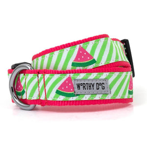 Green Stripe Watermelon Dog Collar