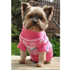 Pink Combed Cotton Snowflake and Hearts Dog Sweater