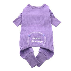 Sweet Dreams Embroidered Dog Pajamas - Lilac