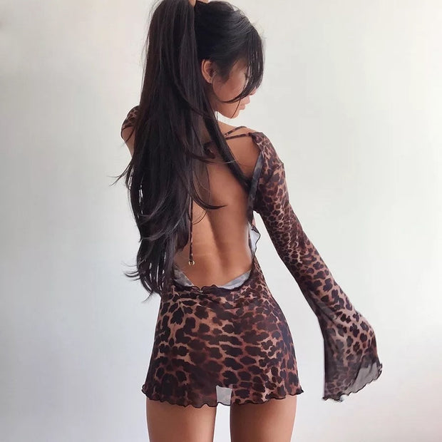 SHADI Backless Leopard Dress