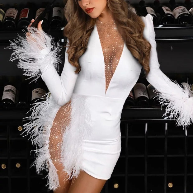IRIS Feather Diamond Sexy Dress